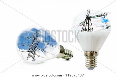 Two Led Lamp With A Picture Of Power Lines Inside