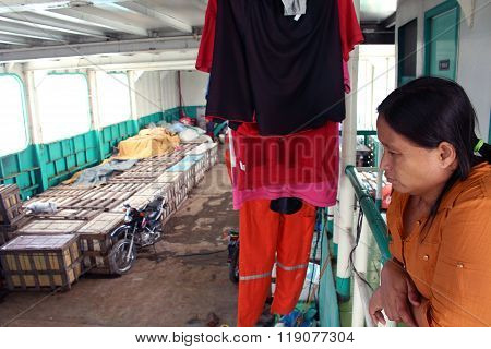 Woman inside a ferry boat Philippines