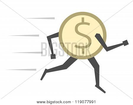Dollar Coin Running Isolated