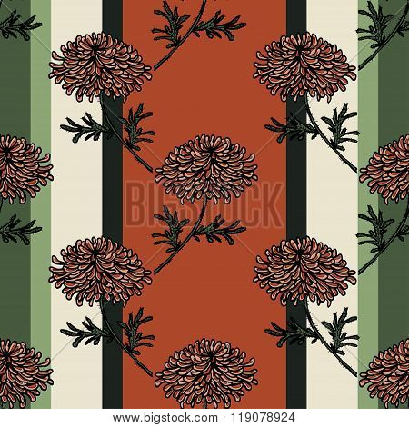 Seamless pattern with chrysanthemum flower