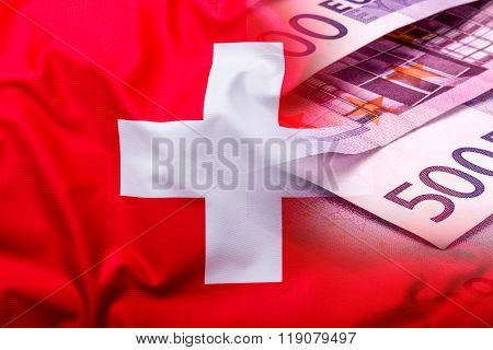 Flags of the Switzerland and the European Union. Switzerland Flag and EU Flag. World flag money