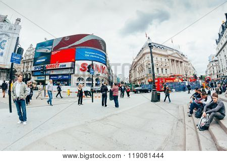 London - October 11 View Of Piccadilly Circus On October 11, 2013 In London. Famous Advertisements O