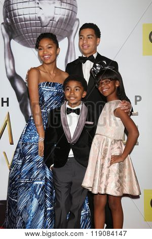 LOS ANGELES - FEB 5: Yara Shahidi, Marcus Scribner (back), Miles Brown, Marsai Martin (front) - 47TH NAACP Image Awards Press Room at the Pasadena Civic Auditorium on February 5, 2016 in Pasadena, CA