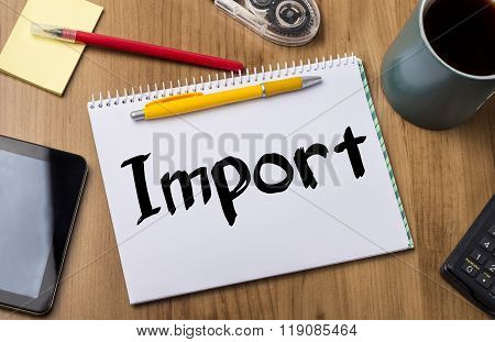 Import  - Note Pad With Text
