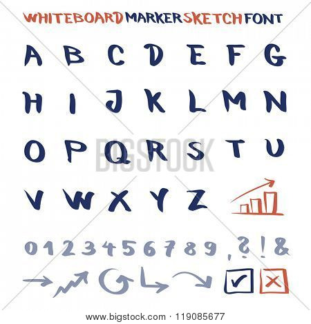 Whiteboard marker sketch font. Vector alphabet with numbers and symbols.