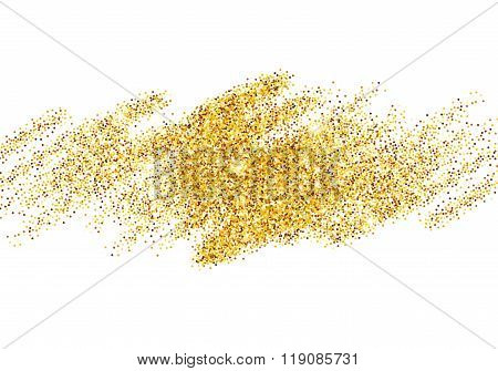 Gold Glitter Sparkles Bright Confetti background. Vector illustration