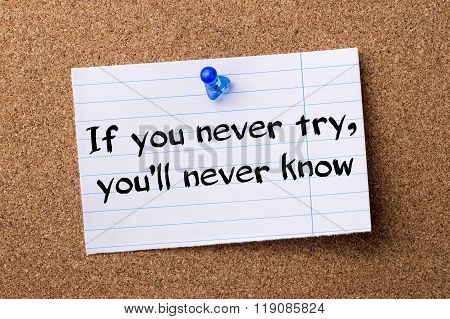 If You Never Try, You'll Never Know - Teared Note Paper Pinned On Bulletin Board