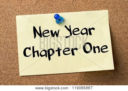 New Year Chapter One - Adhesive Label Pinned On Bulletin Board