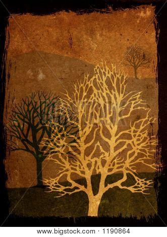Grunge Trees - Sepia