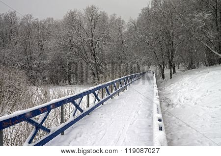 Snow-covered Footbridge In A Ravine.