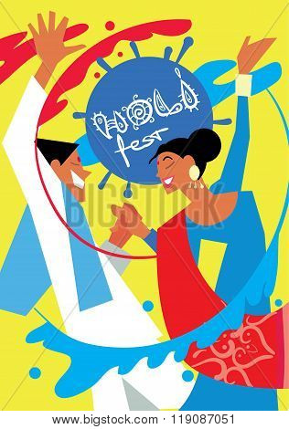 Holi people man and woman in traditional costumes. Holi background. Holi vector. Creative Flyer, Banner or Poster design of Traditional Indian festival Holi. Bengali New Year. Holi colorful illustration. Holi holiday. Holi celebration, Happy Holi.