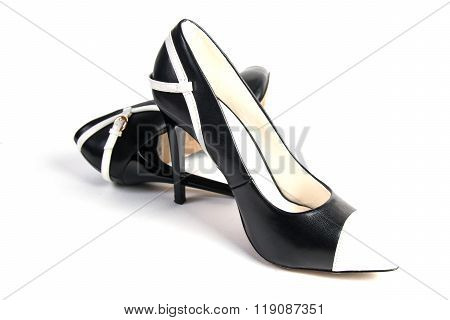 black and white high heel women shoes isolated on white background