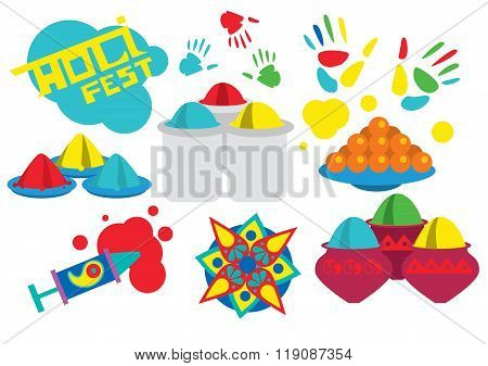 Holi sign collection. Holi festival vector illustration. The traditional Indian festival. Bengali New Year. Holiday of spring and nature. Holi icon set.