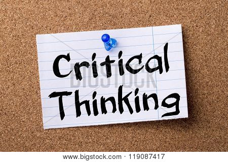 Critical Thinking - Teared Note Paper Pinned On Bulletin Board