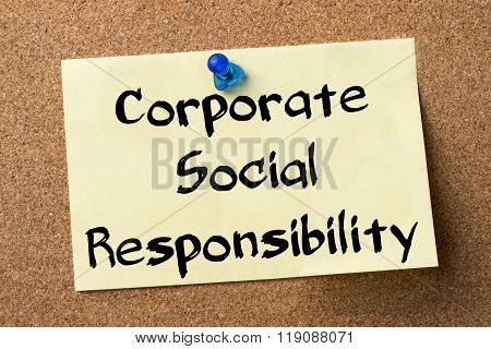 Corporate Social Responsibility Csr - Adhesive Label Pinned On Bulletin Board