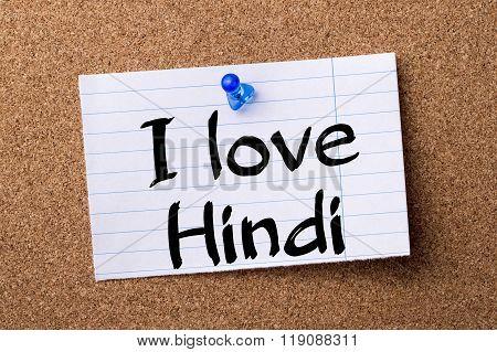 I Love Hindi - Teared Note Paper Pinned On Bulletin Board