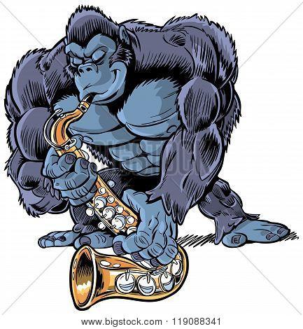 Gorilla Playing Saxophone