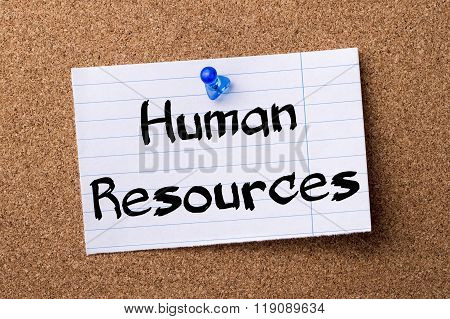 Human Resources - Teared Note Paper Pinned On Bulletin Board
