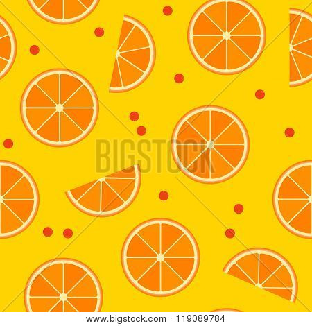 Vector Seamless Pattern With Slices Of Orange And Cowberries