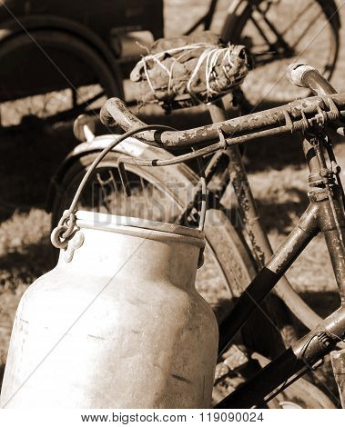 Rusty Bicycle Milkman And The Milk Canister