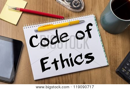 Code Of Ethics - Note Pad With Text