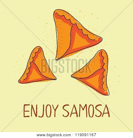 Samosa icon. Eastern cuisine. Hand drawn illustration.