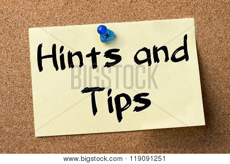 Hints And Tips - Adhesive Label Pinned On Bulletin Board