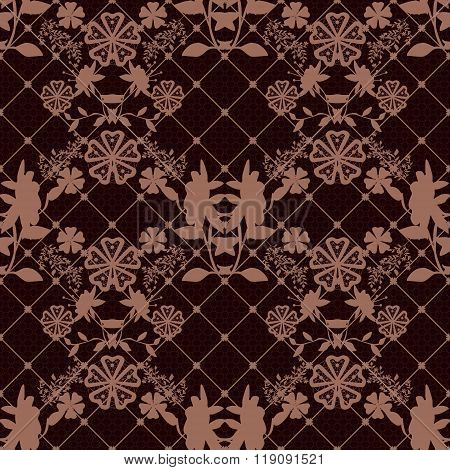 Seamless Lace Pattern Texture With Fishnet On Brown