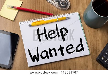 Help Wanted - Note Pad With Text