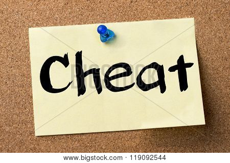 Cheat - Adhesive Label Pinned On Bulletin Board