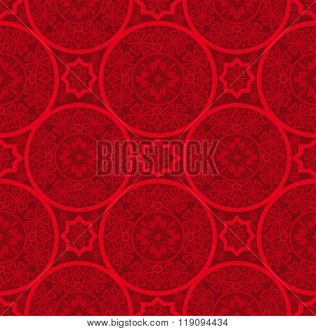 Red Abstract Seamless Lace Pattern