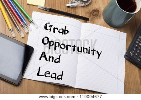 Grab Opportunity And Lead Goal - Note Pad With Text