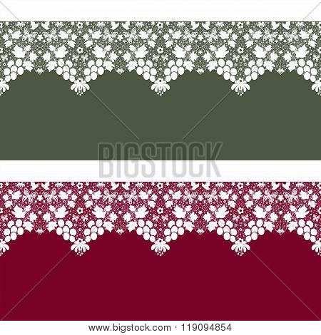 Seamless Lace Pattern Texture On Green And Red