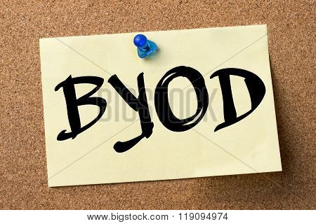 Byod - Adhesive Label Pinned On Bulletin Board