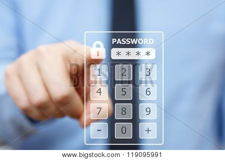 Business man pressing security code on virtual keypad
