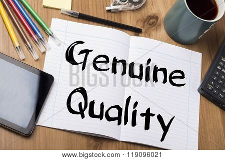 Genuine Quality - Note Pad With Text