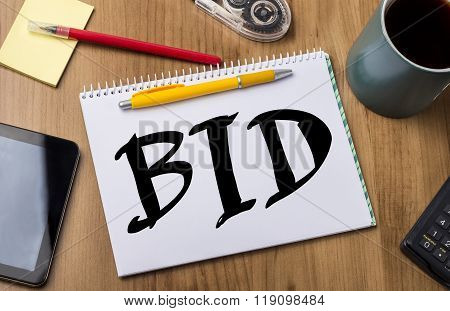 Bid - Note Pad With Text