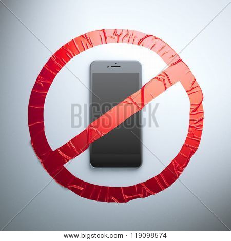 No cell phone fabric sign
