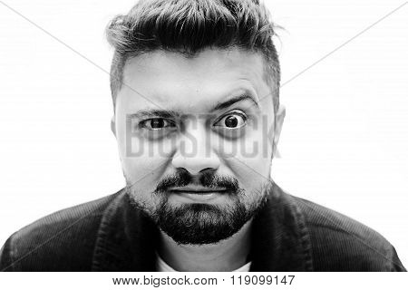 Close-up Studio Portrait Man Baffled Facial Expression On White