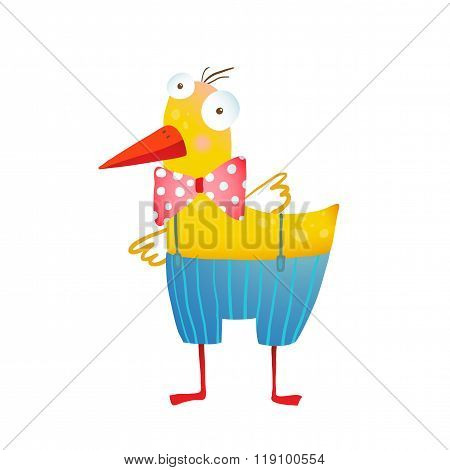 Kids Humorous Yellow Duck with Bow Tie