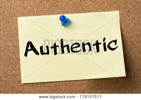 Authentic - Adhesive Label Pinned On Bulletin Board