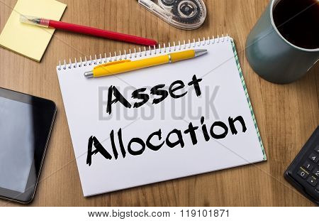 Asset Allocation - Note Pad With Text