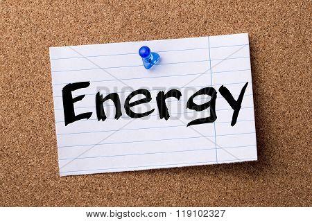 Energy - Teared Note Paper Pinned On Bulletin Board