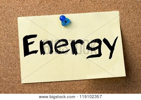Energy - Adhesive Label Pinned On Bulletin Board