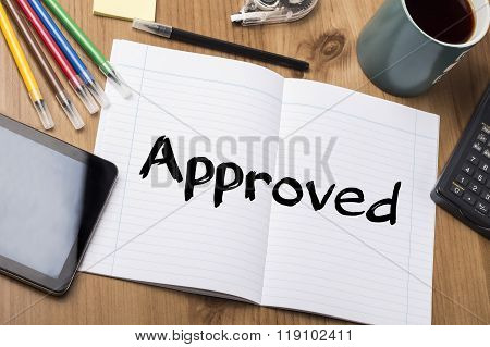 Approved - Note Pad With Text