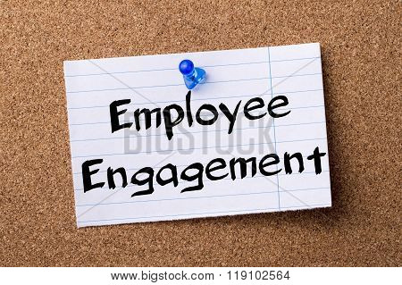 Employee Engagement - Teared Note Paper Pinned On Bulletin Board