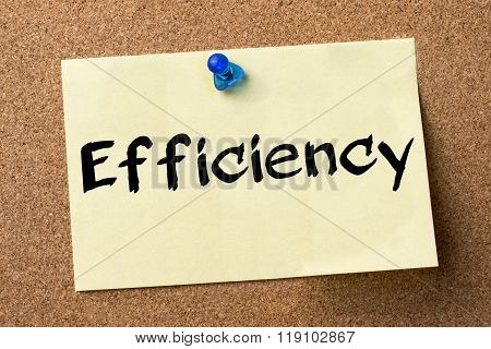 Efficiency - Adhesive Label Pinned On Bulletin Board