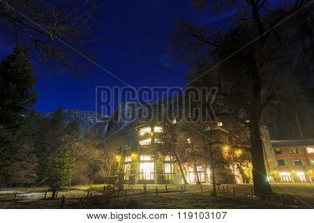 The Famous Historical Ahwahnee Hotel At Night