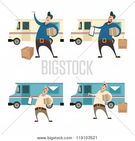 Delivery servis with boxes and cars