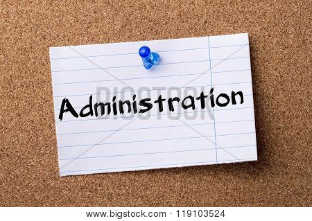 Administration - Teared Note Paper Pinned On Bulletin Board